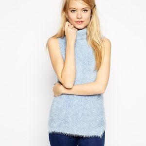 ASOS fuzzy sleeveless turtleneck sweater